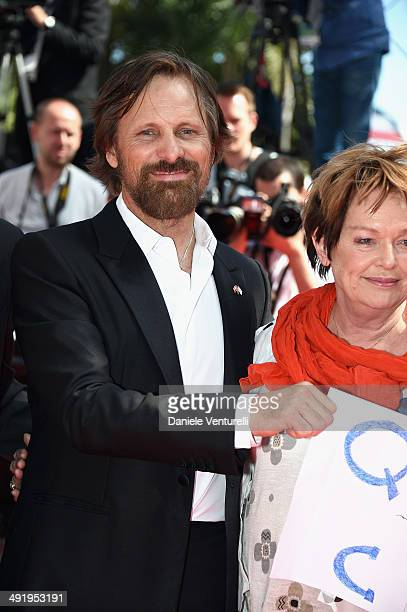 Actor Viggo Mortensen and Ghita Norby attend the 'Jauja' Premiere at the 67th Annual Cannes Film Festival on May 18 2014 in Cannes France