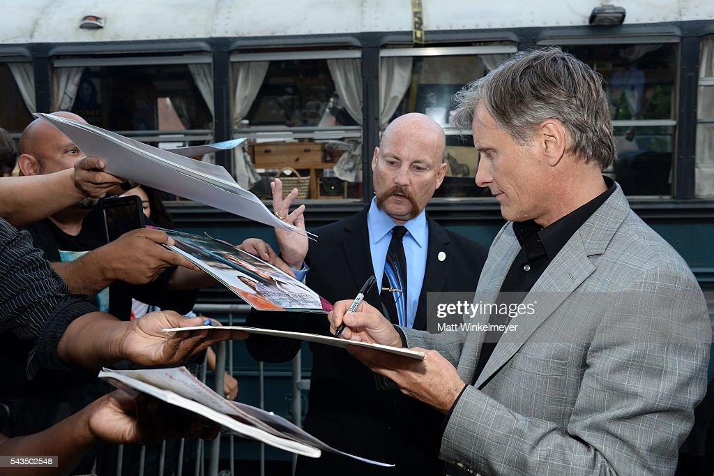 Actor Viggo Mortensen attends the premiere of Bleecker Street Media's 'Captain Fantastic' at Harmony Gold on June 28, 2016 in Los Angeles, California.
