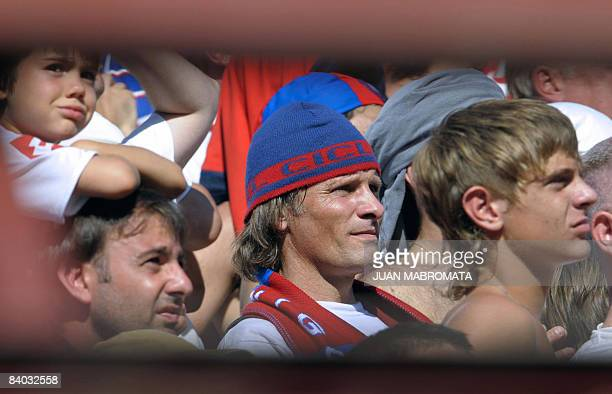 US actor Viggo Mortensen supporter of Argentina's football team San Lorenzo attends Argentina's First Division football match against Argentinos...