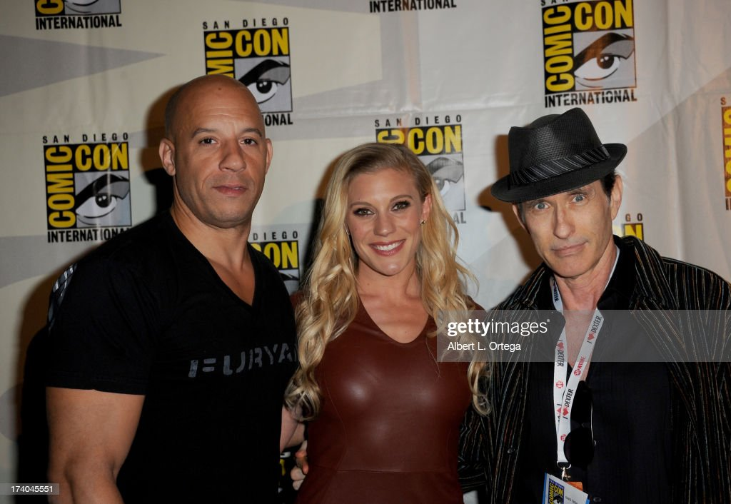 Actor Vin Diesel, actress Katee Sackhoff and director David Twohy appear at the 'Kick-Ass 2' and 'Riddick' Panels during Comic-Con International 2013 at San Diego Convention Center on July 19, 2013 in San Diego, California.