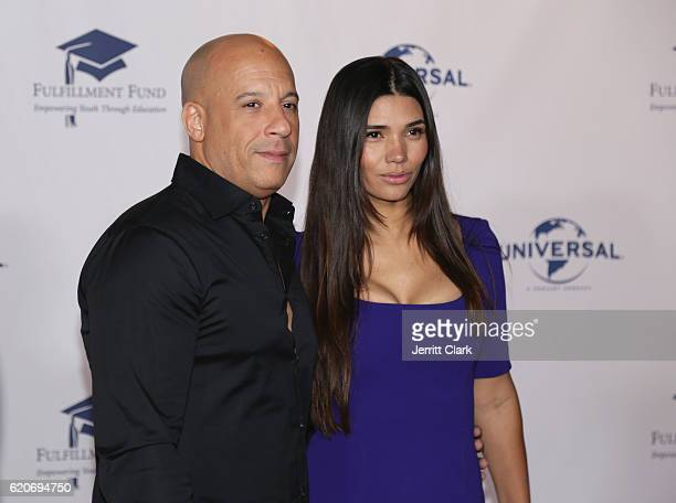 Actor Vin Diesel ad Paloma Jimenez attend the 22nd Fulfillment Fund Stars Benefit Gala Arrivals at The Globe Theatre at Universal Studios on November...
