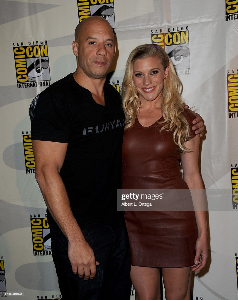 Actor Vin Diesel (L) and actress Katee Sackhoff speak onstage at the 'Kick-Ass 2' and 'Riddick' Panels during Comic-Con International 2013 at San Diego Convention Center on July 19, 2013 in San Diego, California.
