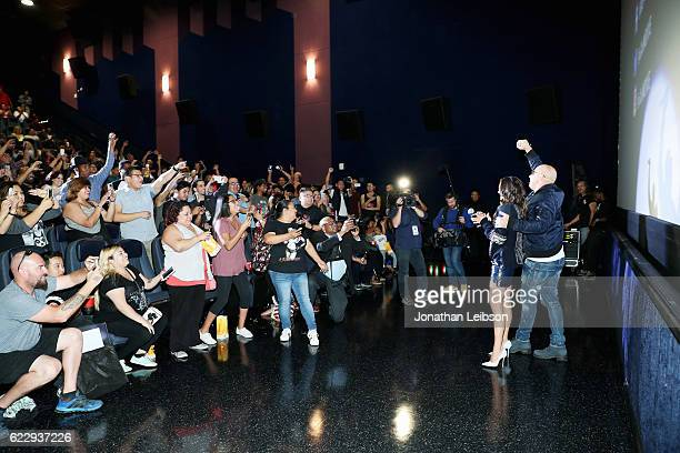 Actor Vin Diesel and actress Nina Dobrev attend the LA fan event of the Paramount Pictures title 'xXx Return of Xander Cage' at Regal LA Live on...