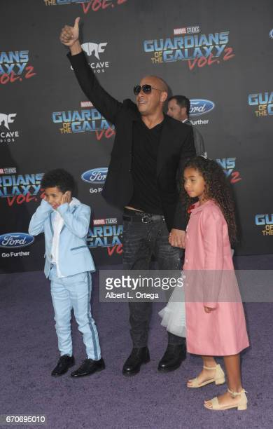 Actor Vin Diesel and children Vincent Sinclair and Hania Sinclair arrive for the Premiere Of Disney And Marvel's 'Guardians Of The Galaxy Vol 2' held...