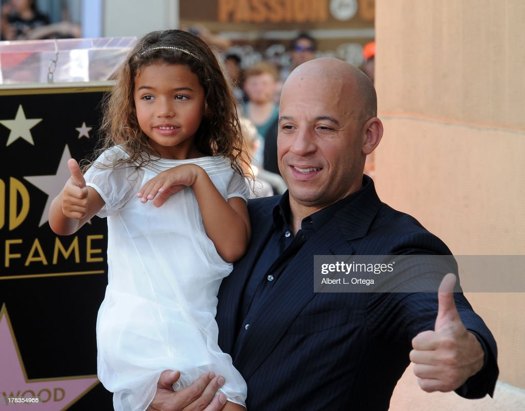 Actor Vin Diesel and daughter Hania Riley participate in the Star Ceremony for Vin Diesel on the Hollywood Walk Of Fame held on August 26, 2013 in Hollywood, California.