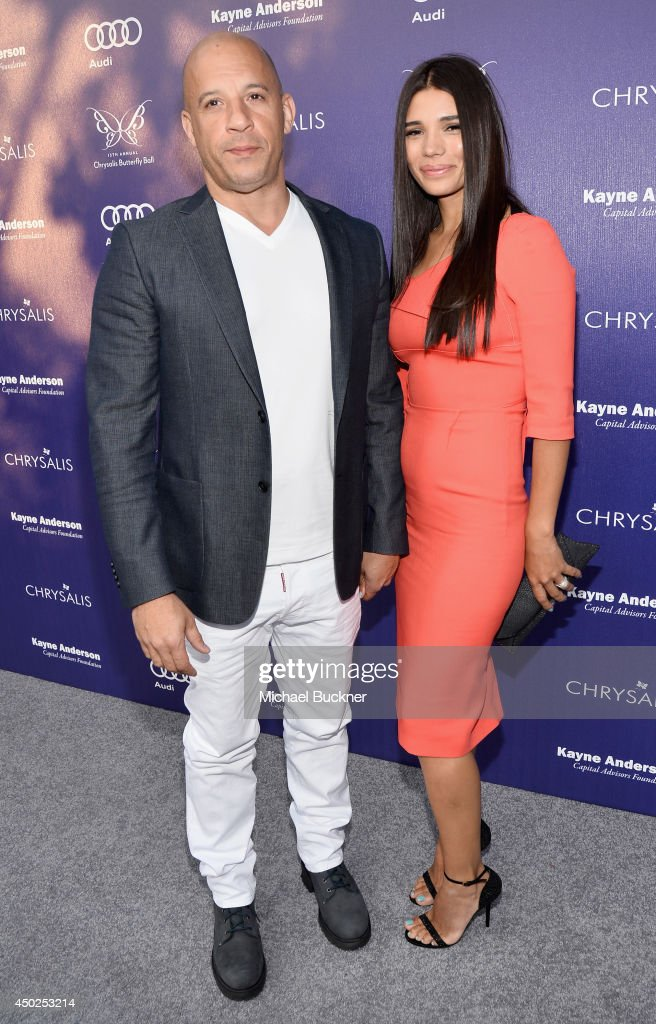 Actor Vin Diesel (L) and Paloma Jimenez arrive at the 13th Annual Chrysalis Butterfly Ball on June 7th, 2014 in Los Angeles, California.