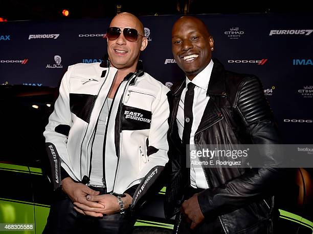 Actor Vin Diesel and recording artist/actor Tyrese Gibson attend Universal Pictures' 'Furious 7' premiere at TCL Chinese Theatre on April 1 2015 in...