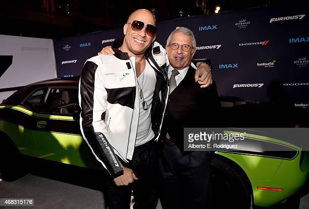 Actor Vin Diesel and Ron Meyer Vice Chairman of NBCUniversal attend Universal Pictures' 'Furious 7' premiere at TCL Chinese Theatre on April 1 2015...