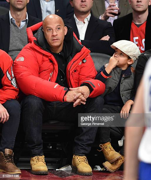 Actor Vin Diesel and son Vincent Sinclair attend the 2016 NBA AllStar Game at Air Canada Centre on February 14 2016 in Toronto Canada