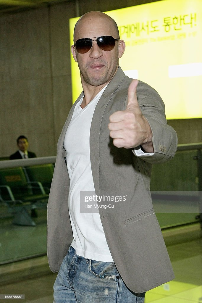 Actor <a gi-track='captionPersonalityLinkClicked' href=/galleries/search?phrase=Vin+Diesel&family=editorial&specificpeople=171983 ng-click='$event.stopPropagation()'>Vin Diesel</a> arrives at Gimpo International Airport on May 12, 2013 in Seoul, South Korea.