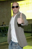 Actor Vin Diesel arrives at Gimpo International Airport on May 12 2013 in Seoul South Korea