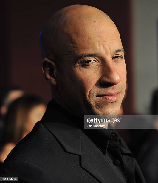 Actor Vin Diesel arrives at the Los Angeles Premiere 'Fast Furious' at the Gibson Amphitheatre on March 12 2009 in Universal City California