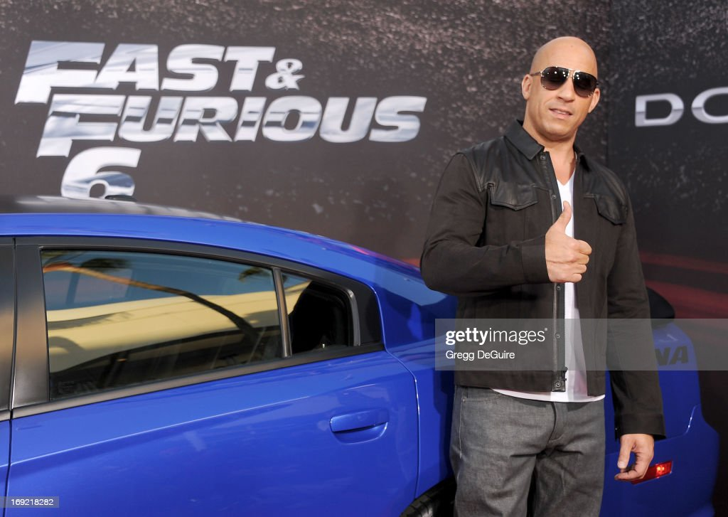 Actor Vin Diesel arrives at the Los Angeles premiere of 'Fast & The Furious 6' at Gibson Amphitheatre on May 21, 2013 in Universal City, California.