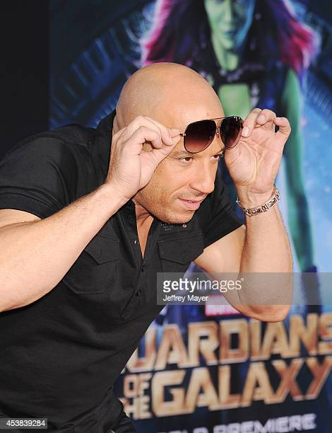 Actor Vin Diesel arrives at the Los Angeles premiere of Marvel's 'Guardians Of The Galaxy' at the El Capitan Theatre on July 21 2014 in Hollywood...