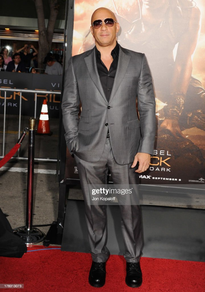 Actor <a gi-track='captionPersonalityLinkClicked' href=/galleries/search?phrase=Vin+Diesel&family=editorial&specificpeople=171983 ng-click='$event.stopPropagation()'>Vin Diesel</a> arrives at the Los Angeles Premiere 'Riddick' at the Mann Village Theater on August 28, 2013 in Westwood, California.