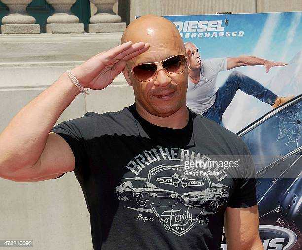 Actor Vin Diesel arrives at the premiere of the 'Fast Furious Supercharged' Ride at Universal Studios Hollywood on June 23 2015 in Universal City...