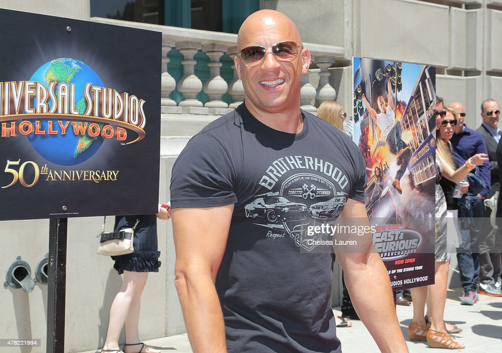 Actor Vin Diesel arrives at the premiere of the 'Fast & Furious - Supercharged' Ride at Universal Studios Hollywood on June 23, 2015 in Universal City, California.