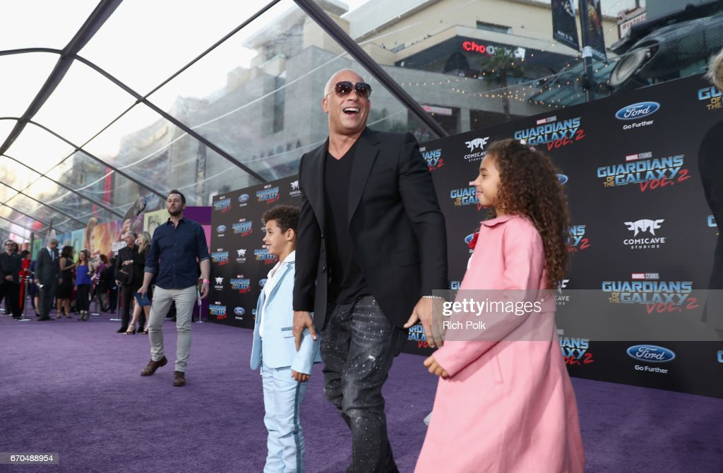 """Actor Vin Diesel at The World Premiere of Marvel Studios' """"Guardians of the Galaxy Vol. 2."""" at Dolby Theatre in Hollywood, CA April 19th, 2017"""