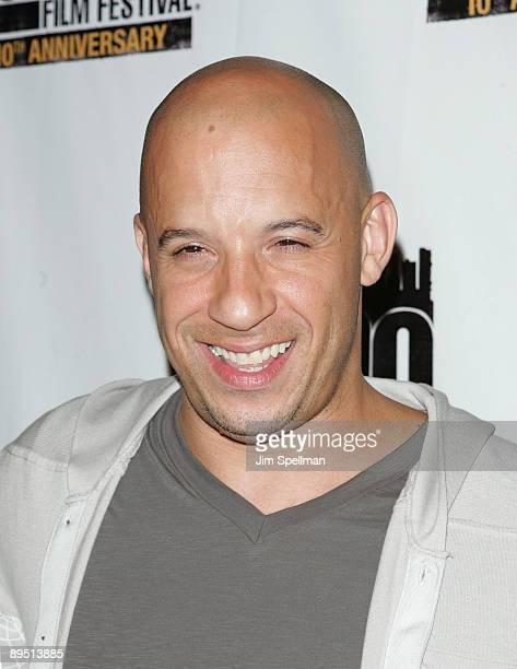 Actor Vin Diesel attend the 10th Anniversary New York International Latino Film Festival premiere of 'Fast Furious' 'Los Bandoleros' at SVA Theater...