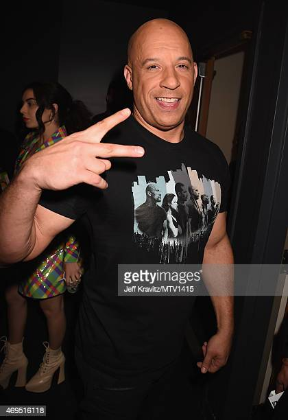 Actor Vin Diesel attends The 2015 MTV Movie Awards at Nokia Theatre LA Live on April 12 2015 in Los Angeles California