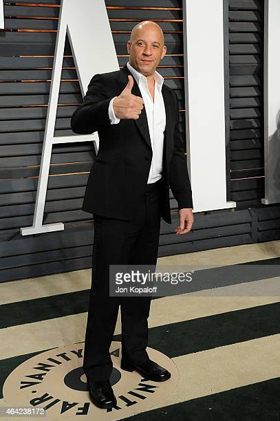 Actor Vin Diesel attends the 2015 Vanity Fair Oscar Party hosted by Graydon Carter at Wallis Annenberg Center for the Performing Arts on February 22...
