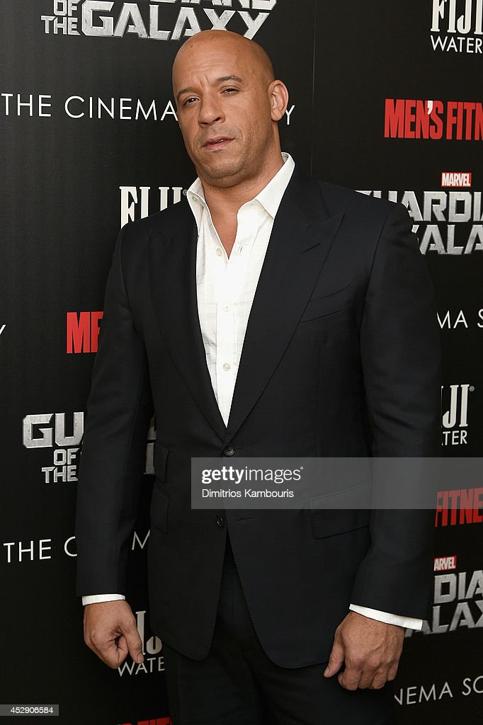 Actor <a gi-track='captionPersonalityLinkClicked' href=/galleries/search?phrase=Vin+Diesel&family=editorial&specificpeople=171983 ng-click='$event.stopPropagation()'>Vin Diesel</a> attends The Cinema Society with Men's Fitness and FIJI Water special screening of Marvel's 'Guardians of the Galaxy' at Crosby Street Hotel on July 29, 2014 in New York City.