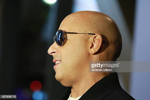 Actor Vin Diesel attends the LA fan event of the Paramount Pictures title 'xXx Return of Xander Cage' at Regal LA Live on November 12 2016 in Los...