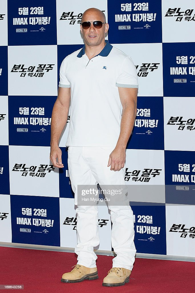 Actor <a gi-track='captionPersonalityLinkClicked' href=/galleries/search?phrase=Vin+Diesel&family=editorial&specificpeople=171983 ng-click='$event.stopPropagation()'>Vin Diesel</a> attends the 'Fast & Furious 6' press conference on May 13, 2013 in Seoul, South Korea.