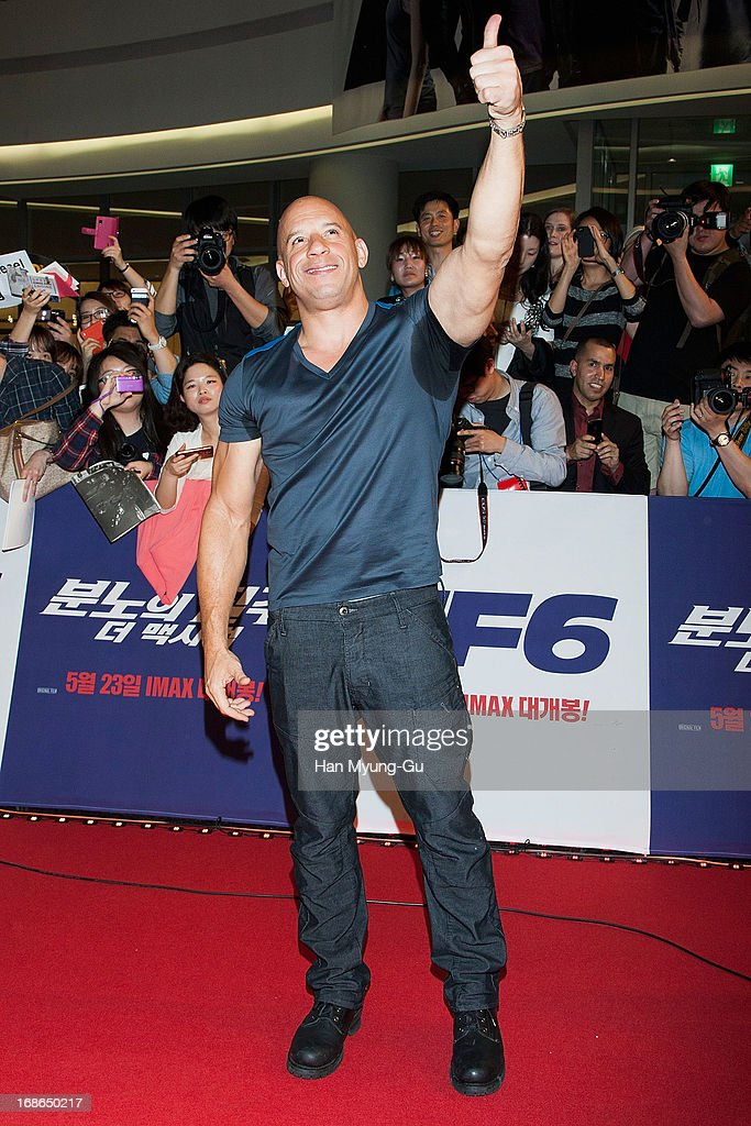 Actor Vin Diesel attends the 'Fast & Furious 6' South Korea Premiere on May 13, 2013 in Seoul, South Korea. Vin Diesel is visiting South Korea to promote their recent film 'Fast & Furious 6' which will be released in South Korea on May 23.