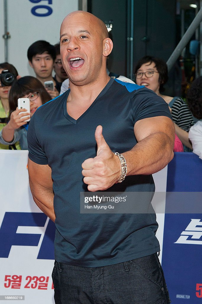 Actor <a gi-track='captionPersonalityLinkClicked' href=/galleries/search?phrase=Vin+Diesel&family=editorial&specificpeople=171983 ng-click='$event.stopPropagation()'>Vin Diesel</a> attends the 'Fast & Furious 6' South Korea Premiere on May 13, 2013 in Seoul, South Korea. <a gi-track='captionPersonalityLinkClicked' href=/galleries/search?phrase=Vin+Diesel&family=editorial&specificpeople=171983 ng-click='$event.stopPropagation()'>Vin Diesel</a> is visiting South Korea to promote their recent film 'Fast & Furious 6' which will be released in South Korea on May 23.