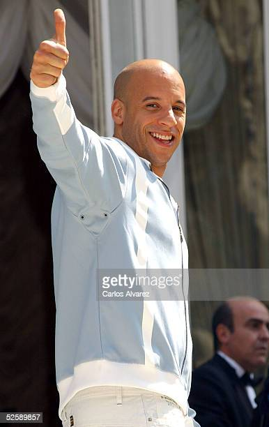Actor Vin Diesel attends the photocall promoting his new movie 'The Pacifier' at Hotel Ritz on April 5 2005 in Madrid Spain