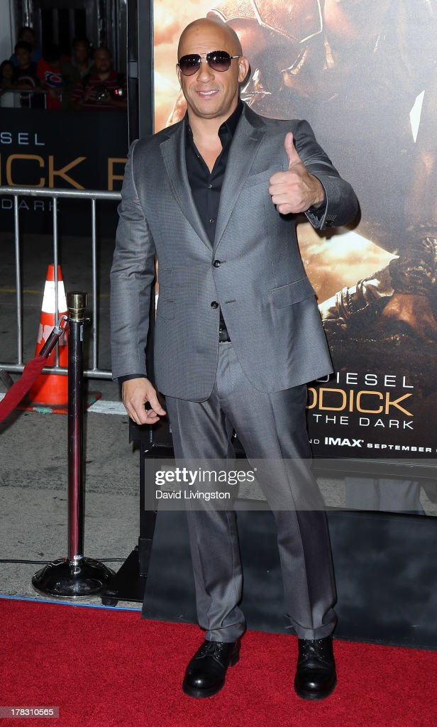 Actor <a gi-track='captionPersonalityLinkClicked' href=/galleries/search?phrase=Vin+Diesel&family=editorial&specificpeople=171983 ng-click='$event.stopPropagation()'>Vin Diesel</a> attends the premiere of Universal Pictures' 'Riddick' at the Mann Village Theatre on August 28, 2013 in Westwood, California.
