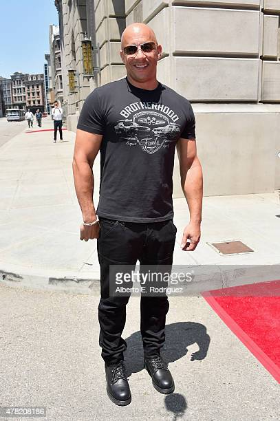 Actor Vin Diesel attends the premiere press event for the new Universal Studios Hollywood Ride 'Fast FuriousSupercharged' at Universal Studios...