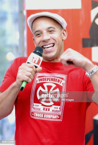 US actor Vin Diesel during his guest appearance on MTV's TRL Total Request Live show at their new studios in Leicester Square central London to...