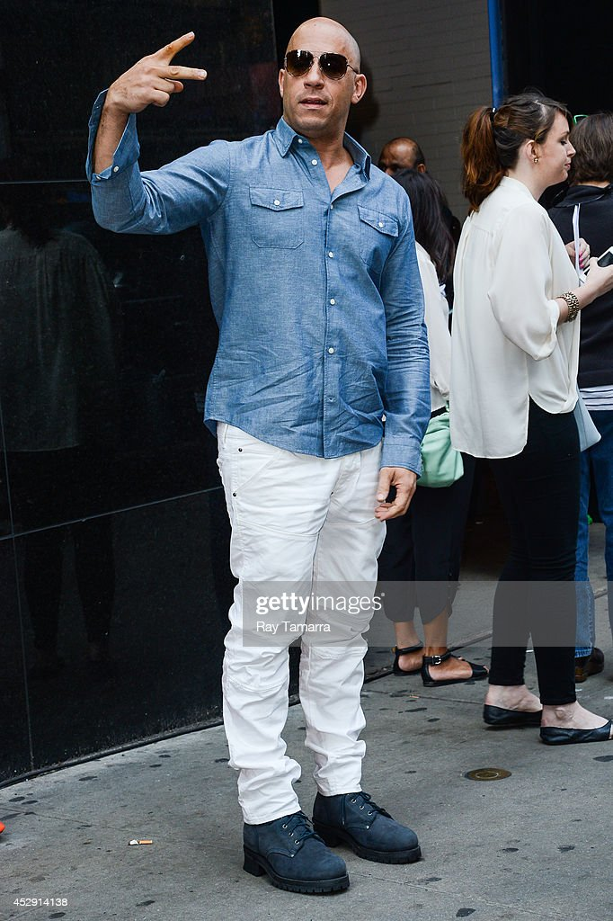 Actor Vin Diesel enters the 'Good Morning America' taping at the ABC Times Square Studios on July 29, 2014 in New York City.