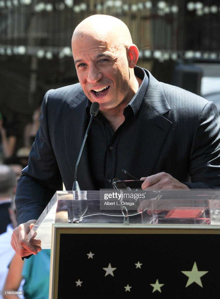 Actor Vin Diesel Honored with a Star On The Hollywood Walk Of Fame held on August 26, 2013 in Hollywood, California.