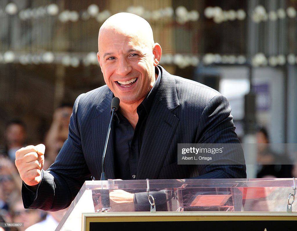 Actor <a gi-track='captionPersonalityLinkClicked' href=/galleries/search?phrase=Vin+Diesel&family=editorial&specificpeople=171983 ng-click='$event.stopPropagation()'>Vin Diesel</a> Honored with a Star On The Hollywood Walk Of Fame held on August 26, 2013 in Hollywood, California.
