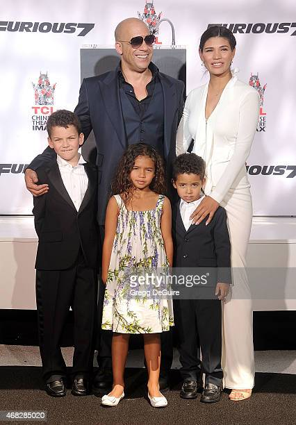 Actor Vin Diesel Paloma Jimenez and kids at his Hand/Footprint Ceremony At TCL Chinese Theatre at TCL Chinese Theatre IMAX on April 1 2015 in...