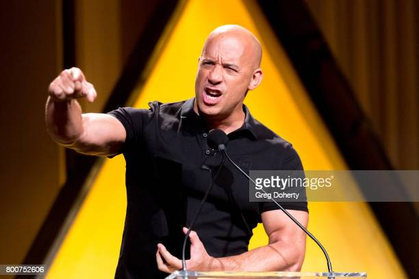 Actor Vin Diesel presents an award at the NALIP 2017 Latino Media Awards at The Ray Dolby Ballroom at Hollywood Highland Center on June 24 2017 in...