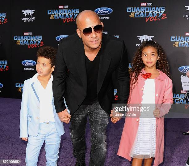 Actor Vin Diesel son Vincent Sinclair and daughter Hania Riley Sinclair attend the premiere of 'Guardians of the Galaxy Vol 2' at Dolby Theatre on...