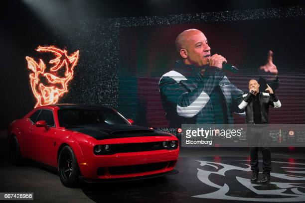 Actor Vin Diesel speaks during an event for the Fiat Chrysler Automobiles NV 2018 Dodge Challenger SRT Demon sports vehicle ahead of the 2017 New...