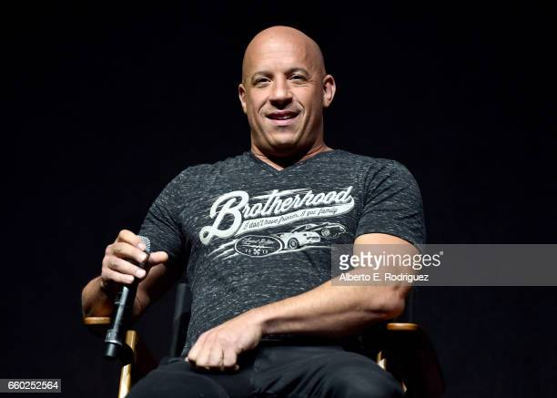 Actor Vin Diesel speaks onstage at CinemaCon 2017 Universal Pictures Invites You to a Special Presentation Featuring Footage from its Upcoming Slate...