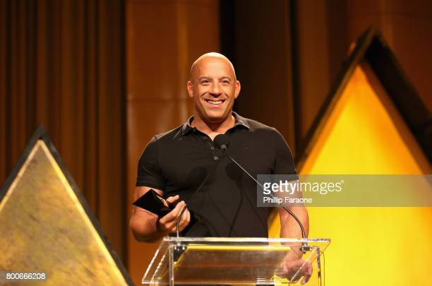 Actor Vin Diesel speaks onstage at the NALIP Latino Media Awards at The Ray Dolby Ballroom at Hollywood Highland Center on June 24 2017 in Hollywood...