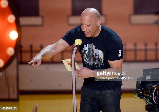 Actor Vin Diesel speaks onstage during The 2015 MTV Movie Awards at Nokia Theatre LA Live on April 12 2015 in Los Angeles California