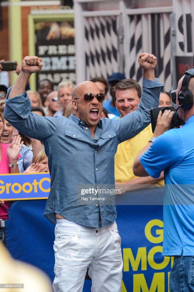Actor <a gi-track='captionPersonalityLinkClicked' href=/galleries/search?phrase=Vin+Diesel&family=editorial&specificpeople=171983 ng-click='$event.stopPropagation()'>Vin Diesel</a> tapes an interview at 'Good Morning America' at the ABC Times Square Studios on July 29, 2014 in New York City.