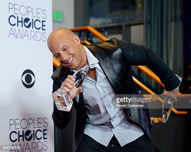 Actor Vin Diesel winner of Favorite Movie and Favorite Action Movie for 'Furious 7' poses in the press room during the People's Choice Awards 2016 at...