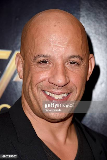 Actor Vin Diesel winner of the Hollywood Blockbuster Award for 'Furious 7' poses in the press room during the 19th Annual Hollywood Film Awards at...