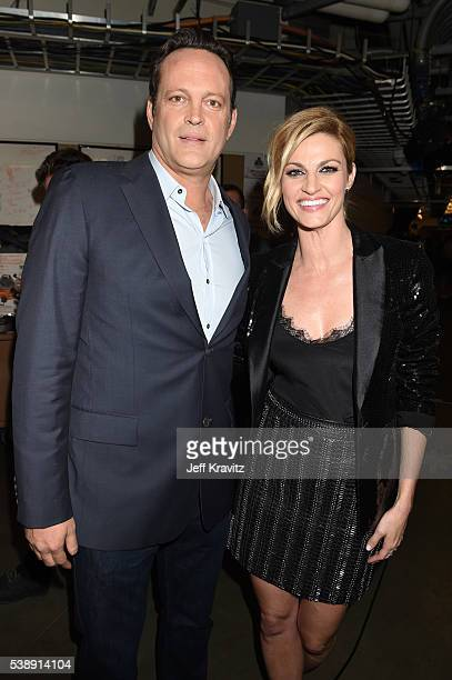 Actor Vince Vaughn and host Erin Andrews attend the 2016 CMT Music awards at the Bridgestone Arena on June 8 2016 in Nashville Tennessee