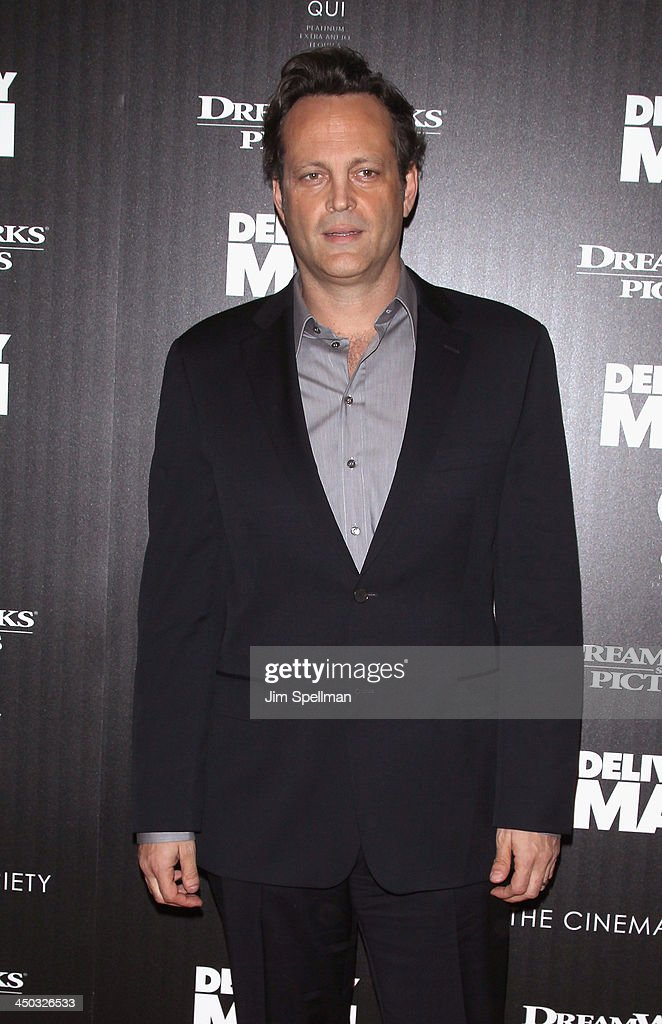 Actor <a gi-track='captionPersonalityLinkClicked' href=/galleries/search?phrase=Vince+Vaughn&family=editorial&specificpeople=182440 ng-click='$event.stopPropagation()'>Vince Vaughn</a> attends the DreamWorks Pictures and The Cinema Society screening of 'Delivery Man' at Paley Center For Media on November 17, 2013 in New York City.