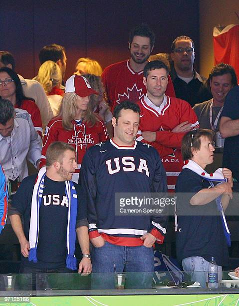 Actor Vince Vaughn attends the ice hockey men's semifinal game between the Canada and Slovakia on day 15 of the Vancouver 2010 Winter Olympics at...